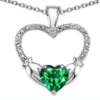 2.03 cttw Celtic Love by Kelly Hands Holding your Heart Simulated Emerald and Diamond 1 Inch Claddagh Pendant in 10 kt White Gold