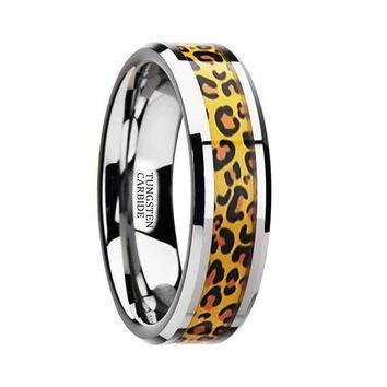 Adrienne Tungsten Wedding Ring Cheetah Print Animal Design Inlay Beveled 6mm & 8mm