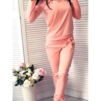 Pure Color Splicing Hollow-out Blouse with Pants Two Pieces Set