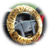 Wild Cat Faux fur Cheetah print fuzzy car steering wheel cover Gold & black spot furry and fluffy car accessories