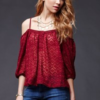 House of Harlow Cold Shoulder Ruffle Top - Womens Shirts - Red