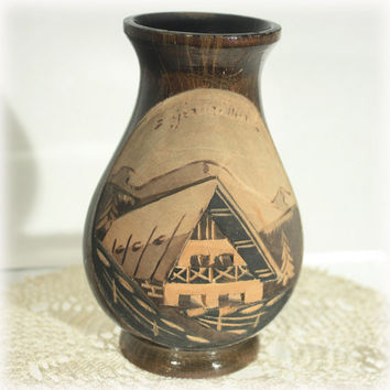 Wood Vase, Carved Wood Vase, Turned Wood Vase, Gerardmer France, Ski Resort, Gerardmer Souvenir, Alpine Village