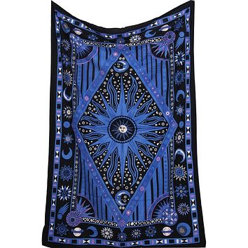 Blue Sun and Moon Mandala Tapestry Planet Indian Wall Hanging Tapestry Square and Rhombus Tapiz Mandalas Tippie Tapestry