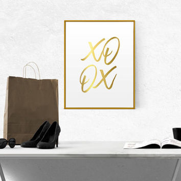 Printable GOLD FOIL Art XOXO Scandinavian Art Fashion Art Print Minimalism Art Printable Wall Art Nordic Design Gossip Girl Girl Room Decor