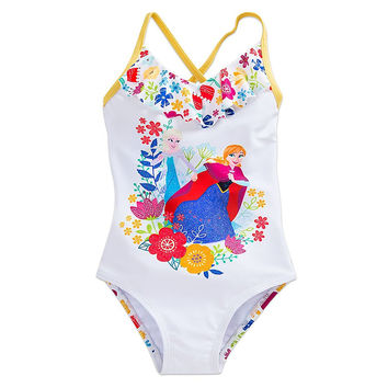 Genuine Disney Frozen Anna and Elsa Swimsuit for Girls White Girls 9/10