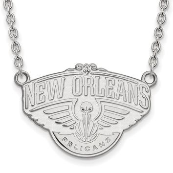 NBA New Orleans Pelicans Lg Pendant Necklace in 10k White Gold - 18 in