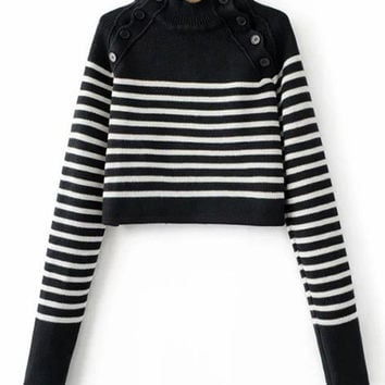 Black Striped Button Embellished Sweater