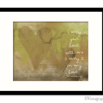 I CARRY YOUR HEART - Vintage Green Art Print