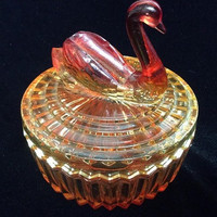 Vintage Jeannette Glass Vanity Powder Jar with Lipstick Holder