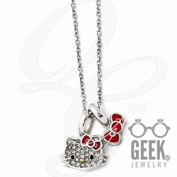 Sterling Silver Hello Kitty Crystal/Enamel Red Bow Collection Necklace