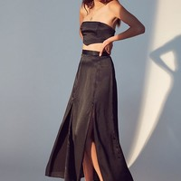 UO Jen Silky Slit Maxi Skirt | Urban Outfitters