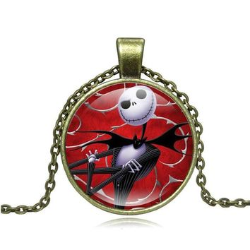 XUSHUI XJ The Nightmare Before Christmas Jack Glass Cabochon Pendant Necklace Vintage Bronze Chain Necklace Women Jewelry Gifts