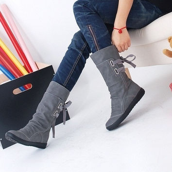 Autumn and Winter Leather Boots Flat Heel Increase Elevator Women Boots Gray Yellow Black Casual Fashion Women Boots Women's Shoes = 1932310532