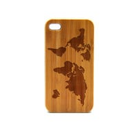 Real Wood iPhone 4s Case, World Map iPhone 4s Case, Wood iPhone 4s Case, Wood iPhone Case,