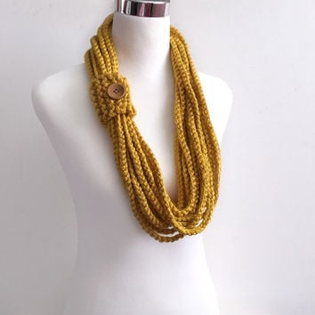 Mustard hand crochet chain Infinity scarf - gift or for you