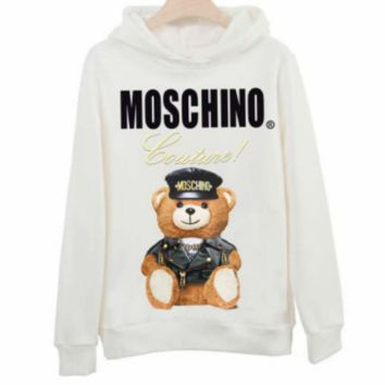 Moschino 2018 autumn new police officer bear print hooded long-sleeved sweater White