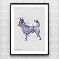 Dog Poster, Chihuahua Watercolor Art Print, Kids Room Decor, Minimalist Home or Office Decor, Gift, Not Framed, Buy 2 Get 1 Free! [No. 14]