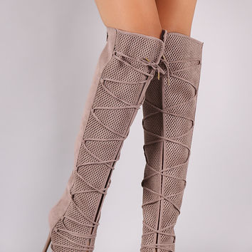Qupid Lace Up Perforated OTK Stiletto Boots
