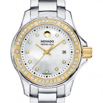 Movado Series 800 Women's Two Tone Diamond Dial Diamond Bezel Mother of Pearl Dial 29mm Watch 2600093