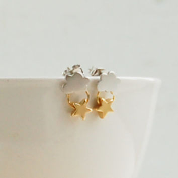 Every CLOUD has a SILVER Lining EARRINGS Gold Star Silver Cloud Seattle Rain