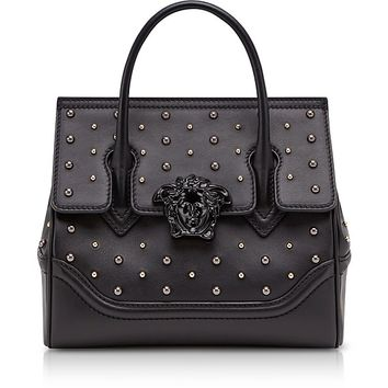 Versace Black Leather Palazzo Empire Top Handle Bag w/Studs