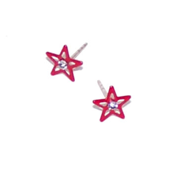 Tiny Red Star Stud Earrings, Filigree, Rhinestone Center - Small Little Earrings