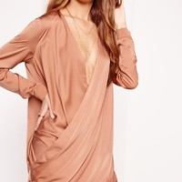 Missguided - Satin Wrap Over Dress Pink