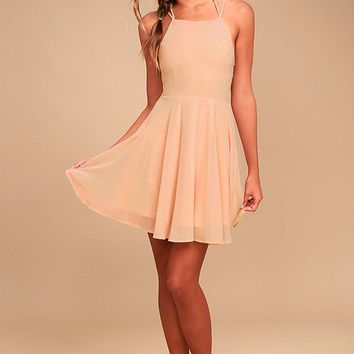Good Deeds Blush Pink Lace-Up Dress
