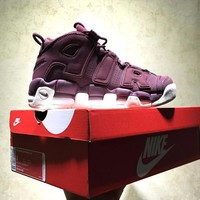 Best Online Sale Nike Air More Uptempo Retro Sport Baskerball Maroon Sneaker 921949-600