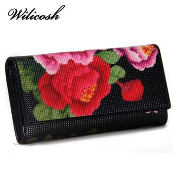 Wilicosh New Arrival Women's Wallet Genuine Leather long wallet Floral Print Tri-fold Long Purse With Zipper purse ladies YF447