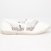Soda Girls Crochet Stretch Slip-On Shoes Off White  In Sizes
