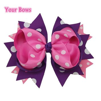 1PC 5.5Inches Big Stacked Boutique Hair Bows Hair Clips Purple Pink Polka Dot Bows Hairpin For Girl Cute Kids Hair Accessories