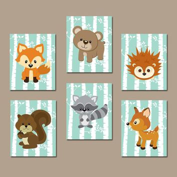 WOODLAND Nursery Wall Art, Woodland Nursery Decor, Woodland Baby Shower, Birch Wood Forest Animals, Gender Neutral, Canvas or Print Set of 6