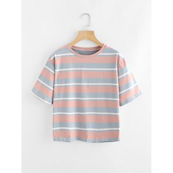 Contrast Wide Striped Tee