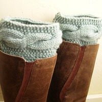 Mint Legwarmers, Knit Boot cuffs, Boot toppers, cable knit boot cuffs from MaryK Creations