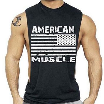 American Flag Design Bodybuilding Fitness Men Tank Top Golds gyms clothing Gorilla Wear Vest gasp Stringer sportswear Undershirt