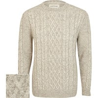 River Island MensEcru twist chunky cable knit sweater