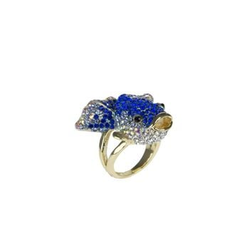Blue Crystal Goldfish Ring