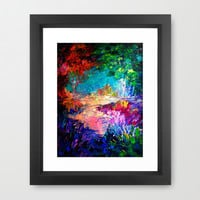 WELCOME TO UTOPIA Bold Rainbow Multicolor Abstract Painting Forest Nature Whimsical Fantasy Fine Art Framed Art Print by EbiEmporium