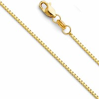 Wellingsale 14k Yellow OR White Gold SOLID 0.8mm Polished Box Link Chain Necklace with Lobster Claw Clasp