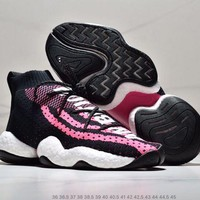 DCCK2 A302 Adidas Crazy Byw LVL Pharrell Boost Knit Basketball Shoes Black Pink