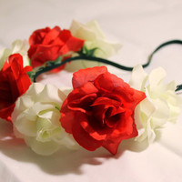Red and White Flower Crowns, Elastic Flower Headband, Adjustable Flower Headband, Flower Girl Headbands, Rose Headbands, Cheap Flower Crown