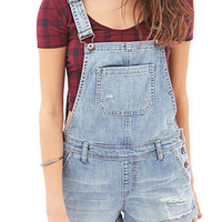 FOREVER 21 Blue Jeans Babe Overall Shorts Light Denim 28