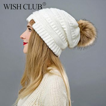 WISH CLUB New Knitted Winter Women's Hat Casual Solid Pom Pom Hat Female Cap Warm Cotton Women Beanies Winter Hat For Girl