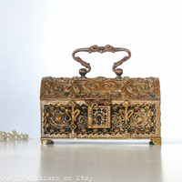 Jewelry Box - Antique Art Nouveau Brass Keepsake Box with a Handle, Footed Trinket Decorated with Ornamental Pattern, Vintage Jewelry Box