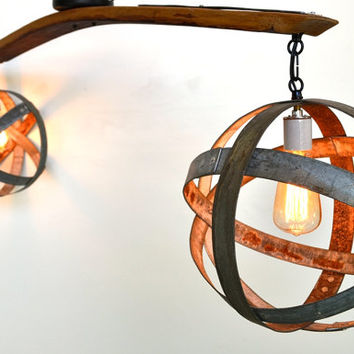 Wine Barrel Ring Atom Globe Hanging Chandelier- Double - 100% RECYCLED