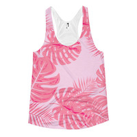 *CLEARANCE !! Tropical flamingo pink palm banana leaves Women's racerback tank