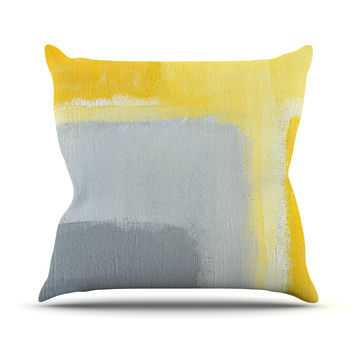 "CarolLynn Tice ""Inspired"" Grey Yellow Throw Pillow, 26"" x 26"" - Outlet Item"