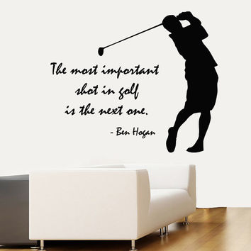 Golfer Wall Decals Quote Sportsman Golf Player Home Interior Design Vinyl Decal Art Mural Sticker Kids Nursery Baby Boy Room Decor kk803