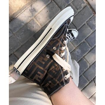 Fendi New Fashion Women Casual F Letter Canvas Flat Sport Shoes Sneakers
